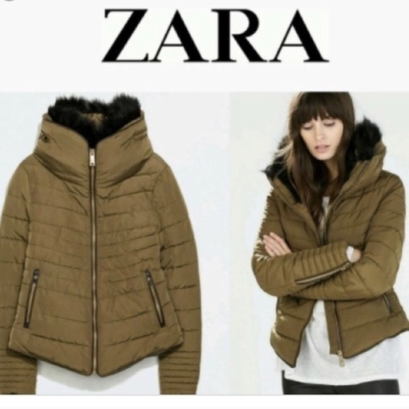 24a88b3f3 Zara Green Puffer Zipper Fur Collar